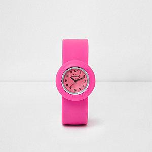 Roze horloge met druksluiting voor meisjes