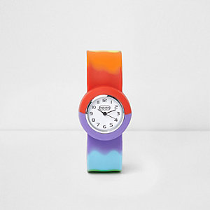 Girls blue rainbow snap on watch