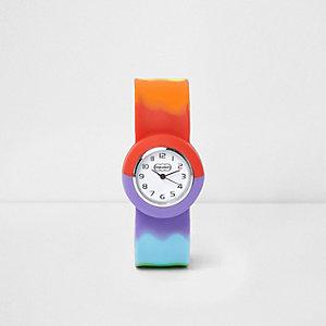 Blauw horloge met regenboogprint en druksluiting voor kinderen