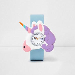 Montre clac imprimé licorne bleue pour fille