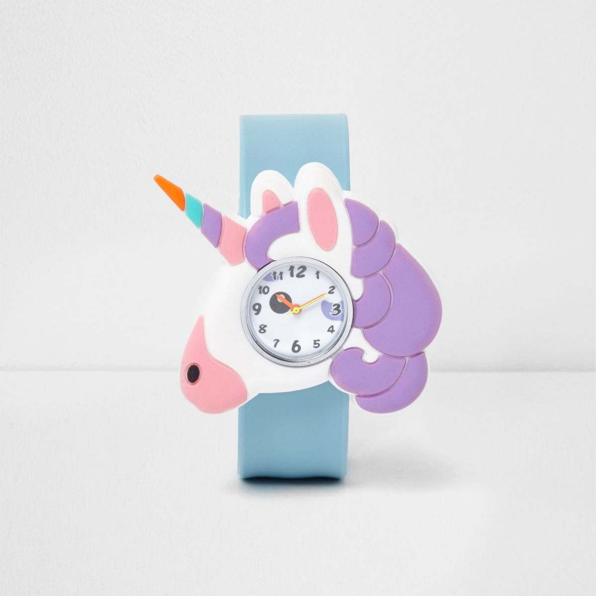 Girls blue unicorn snap on watch