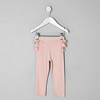 Mini girls pink ruffle back leggings