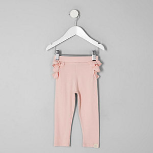 Mini girls pink ruffle back leggings
