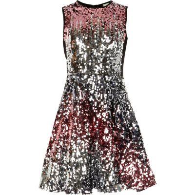 River Island Roze en zilverkleurige ombré jurk met lovertjes voor meisjes