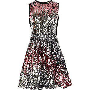 Girls pink and silver ombre sequin dress