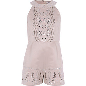 Girls pink satin studded romper