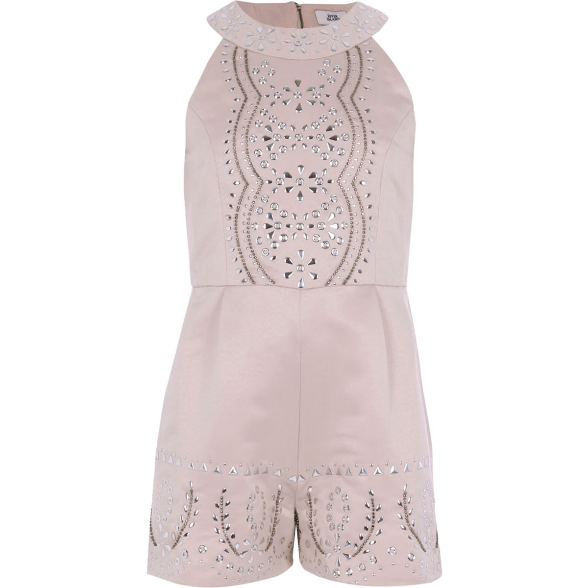 Girls pink satin studded playsuit