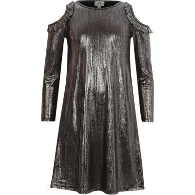 River Island Metallic-grijze schuouderloze jurk met folie-effect voor meisjes