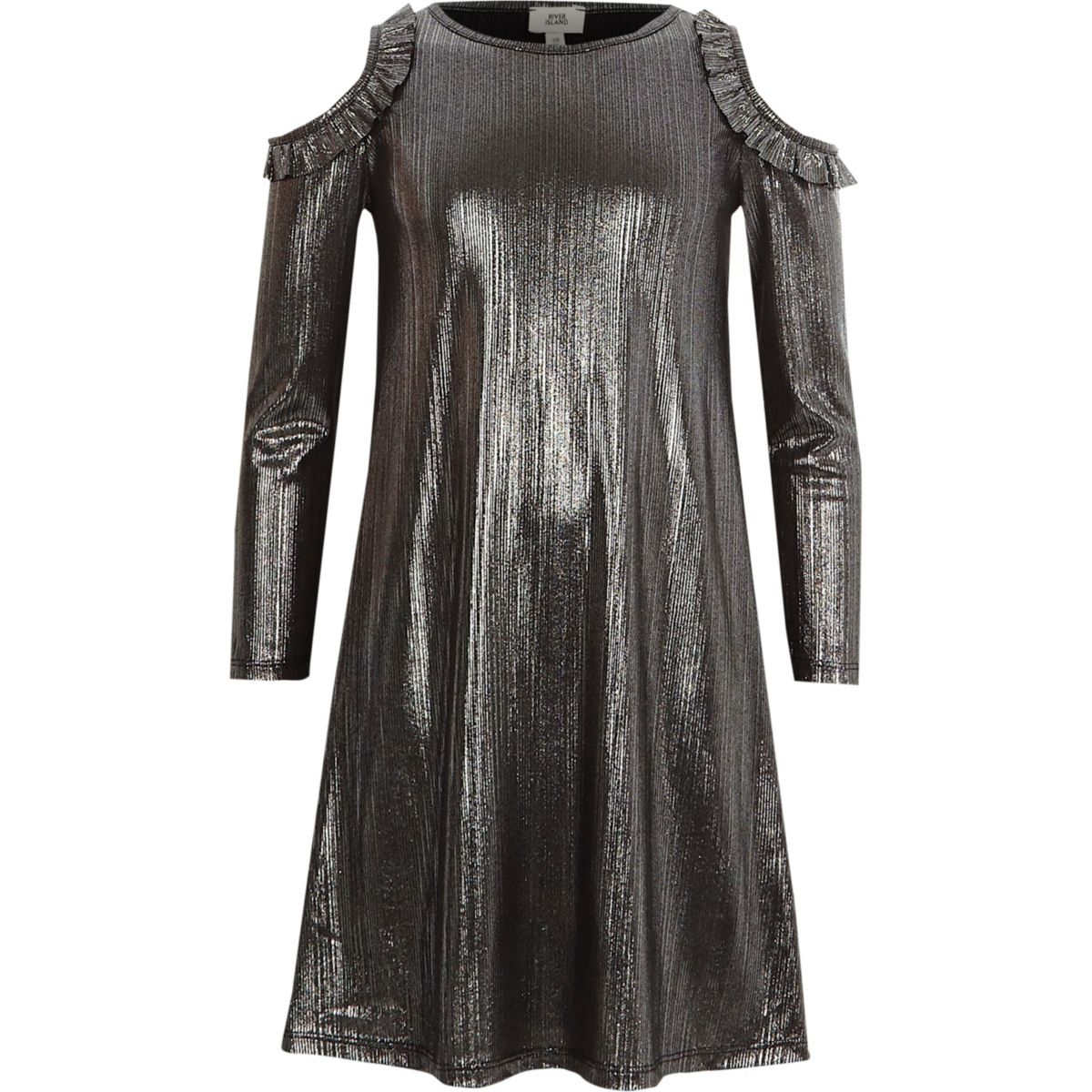 Girls metallic grey foil cold shoulder dress