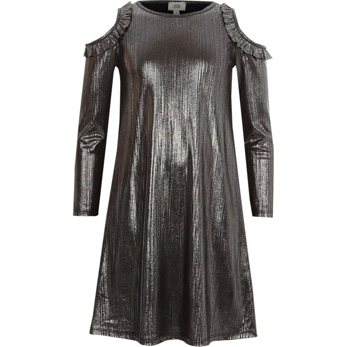 Kleid mit Schulterausschnitten in Metallic-Grau