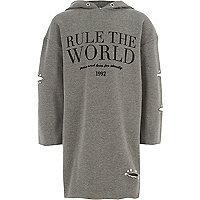 Girls grey 'rule the world' sweatshirt dress