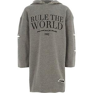 """Graues Sweatshirt-Kleid """"Rule the World"""""""