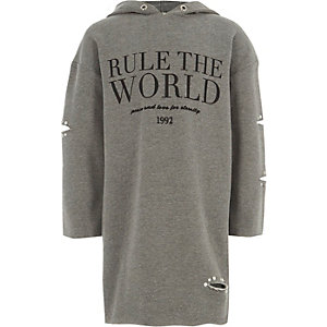Robe pull «rule the world» grise pour fille