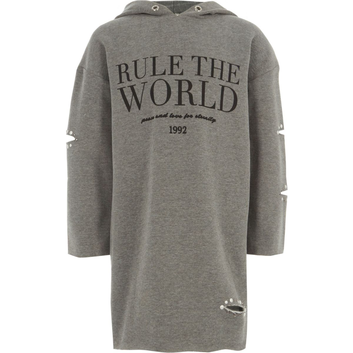 "Graues Sweatshirt-Kleid ""Rule the World"""