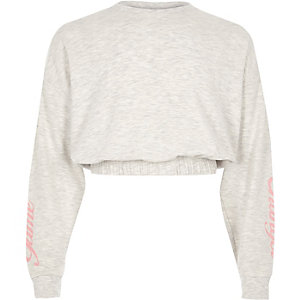 Girls grey 'game changer' cropped sweatshirt