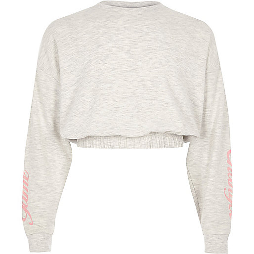 Girls grey 'game changer' cropped sweatshirt