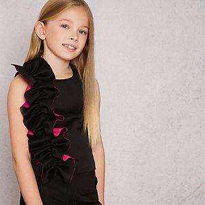 Girls black RI Studio asymmetric ruffle top