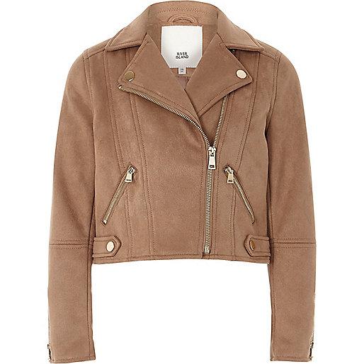 Girls light brown faux suede biker jacket