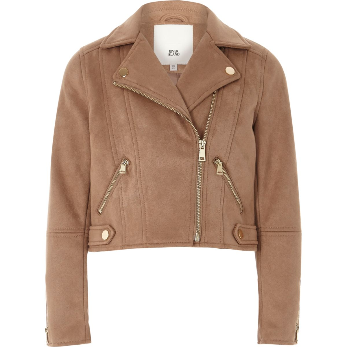 Girls light brown faux suede biker jacket