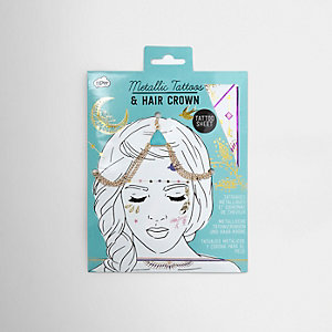 Girls gold tone hair crown and tattoos set