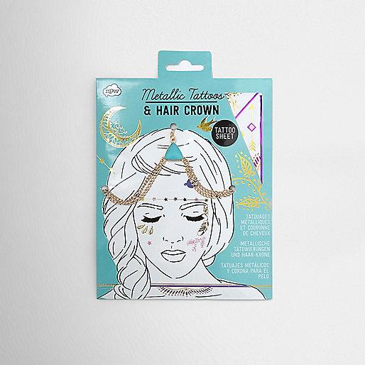 Girls gold tone hair crown and tattoos set