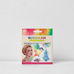 Set roze waterverf tatoeages voor meisjes