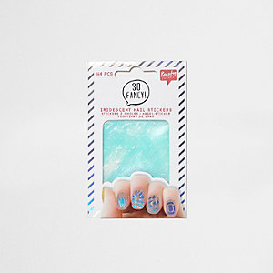 Silver iridescent nail stickers pack