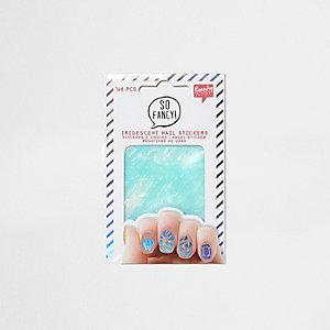 Set zilverkleurige iriserende nagelstickers