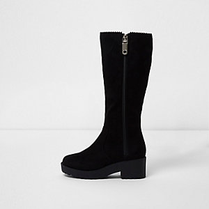 Girls chunky black knee high boots