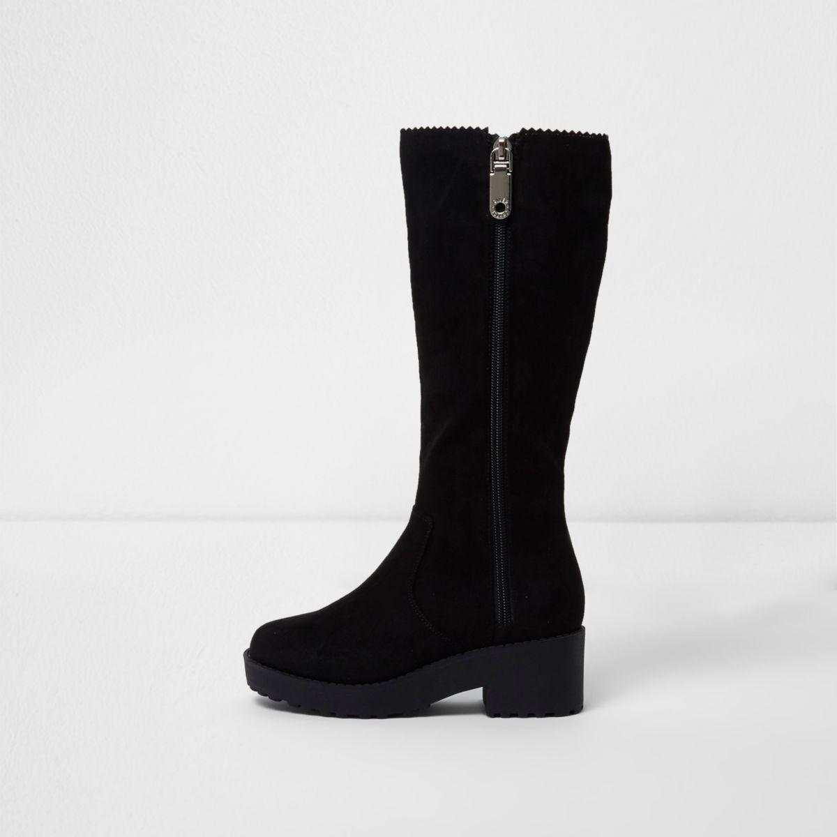 Girls chunky black knee high boots