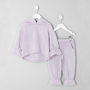 Ensemble pantalon de jogging et sweat à capuche lilas mini fille