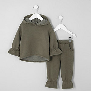 Ensemble pantalon de jogging et sweat à capuche kaki mini fille