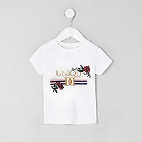 Mini girls white 'unique' print T-shirt
