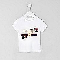 Mini - Wit T-shirt met 'unique'-print voor meisjes
