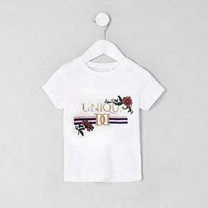 T-shirt imprimé «Unique» blanc mini filles