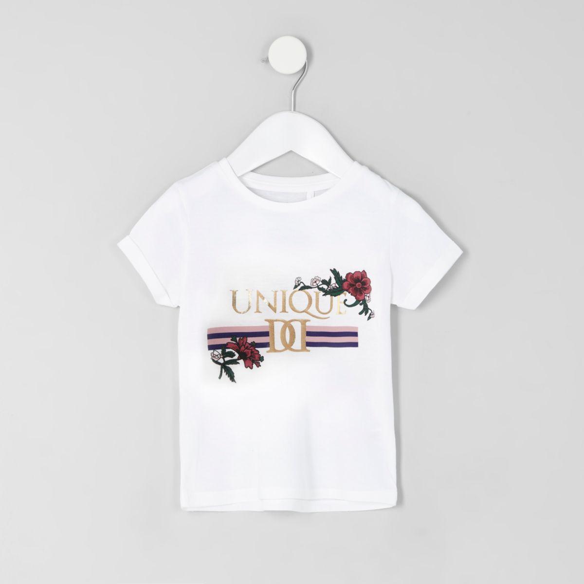 Mini girls white 'unique' print T-shirt