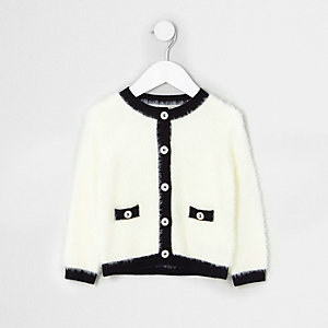 Mini girls cream fluffy knit cardigan