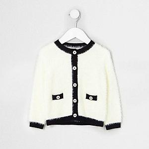 Mini - Crèmekleurig gebreid donzig vest voor meisjes
