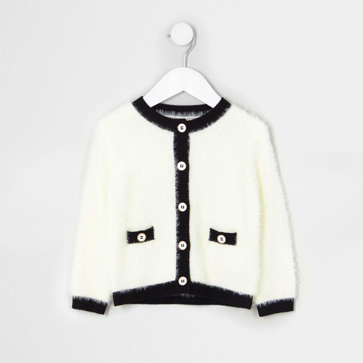 Mini girls cream fluffy knit cardigan