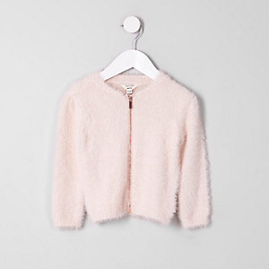 Mini girls light pink fluffy zip-up sweater
