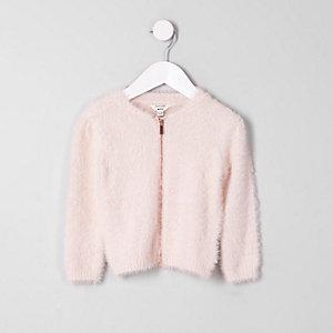 Pull duveteux rose clair zippé mini fille