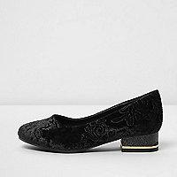 Girls black baroque embossed velvet shoes