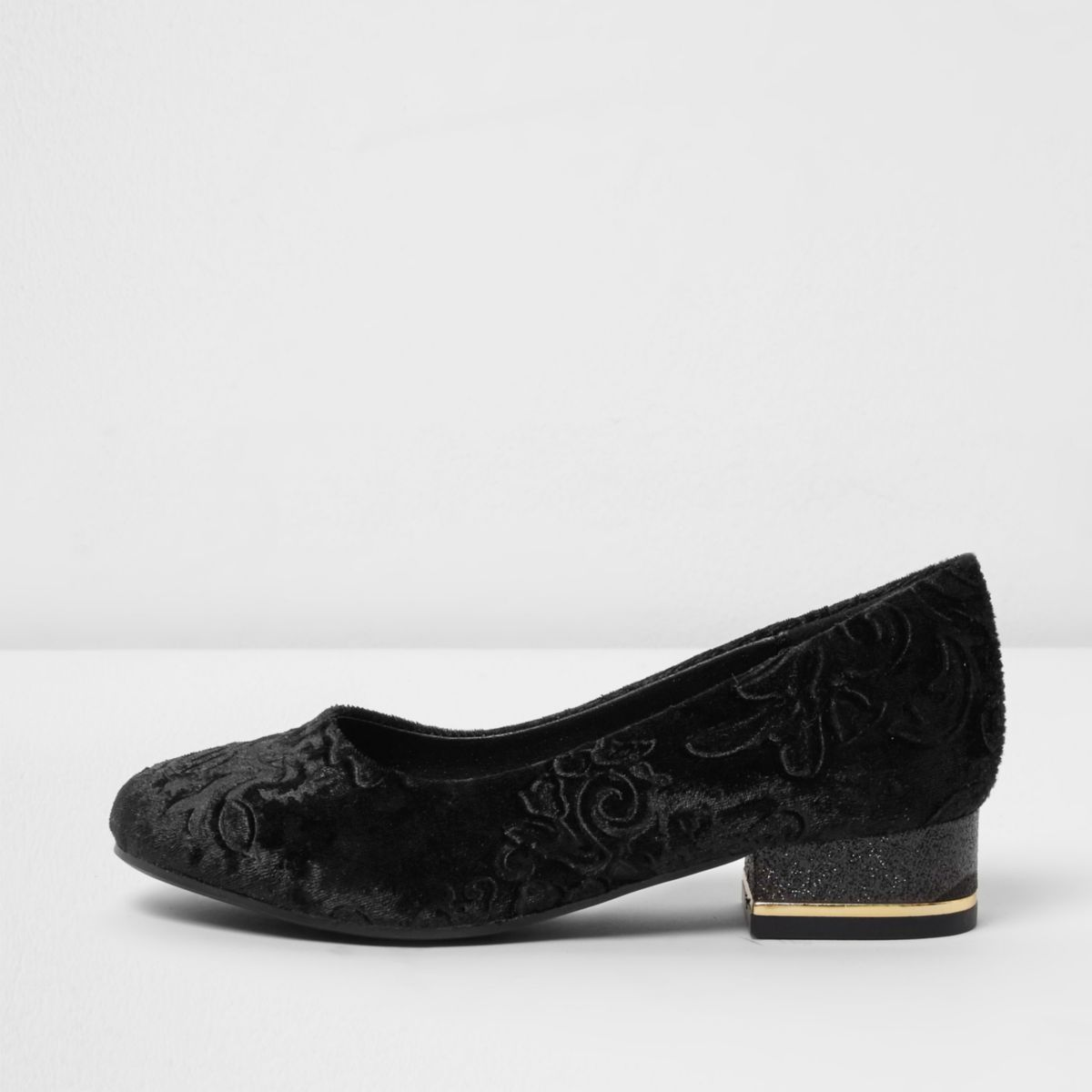 Girls black baroque embossed velvet shoes