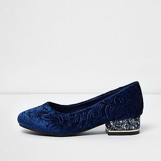 Girls navy baroque embossed velvet shoes