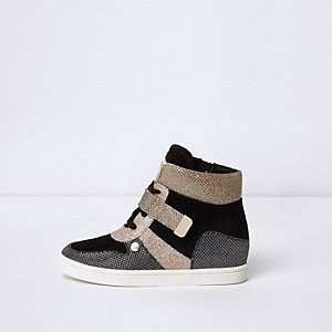 Girls black and gold glitter wedged sneakers