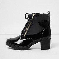 Girls black patent lace-up block heel boots