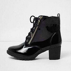 Girls black patent lace-up block heel boots