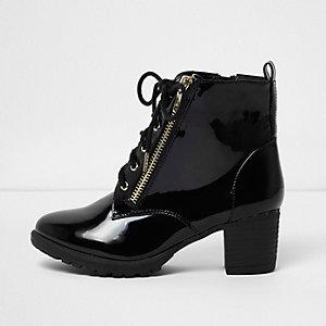 Zwarte lakleren laarzen met blokhak en veters voor meisjes