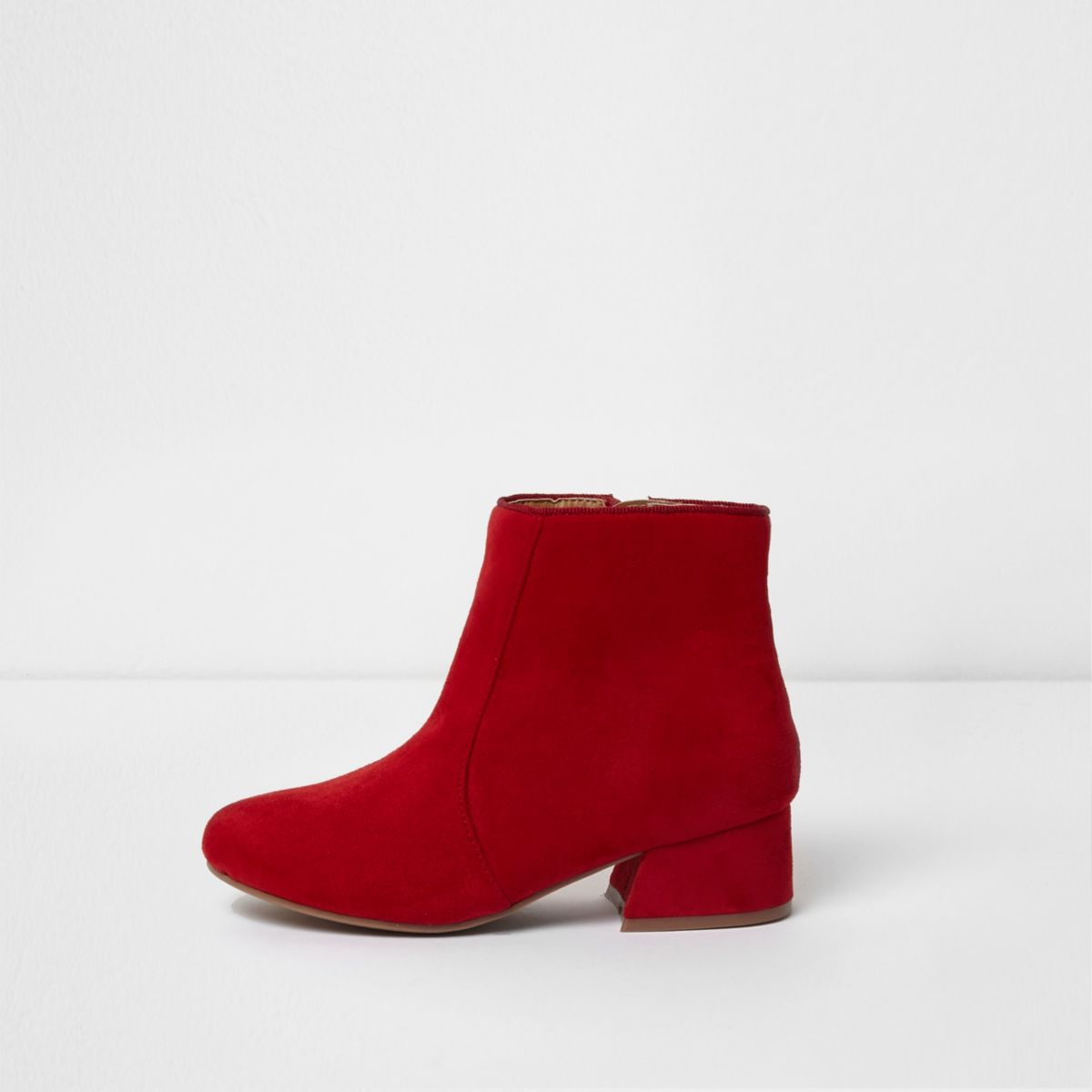 Girls red flared block heel ankle boots