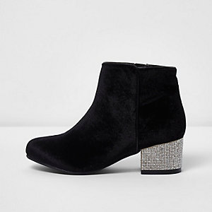 Girls black velvet block heel ankle boots